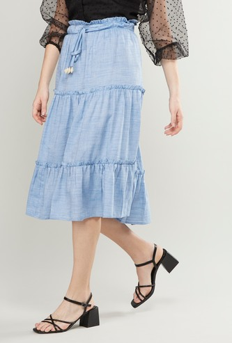 Tiered Midi Skirt with Paperbag Waist
