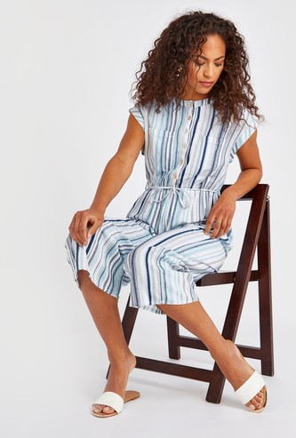 Striped Jumpsuit with Extended Sleeves and Tie Ups