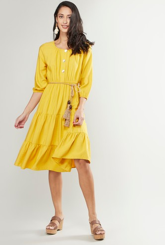 Solid Round Neck Tiered Midi Dress with Rope Belt
