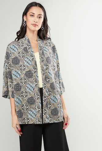 Printed Open Front Kimono with 3/4 Sleeves