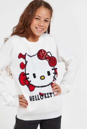 Hello Kitty Textured Sweater with Long Sleeves and Sequin Detail