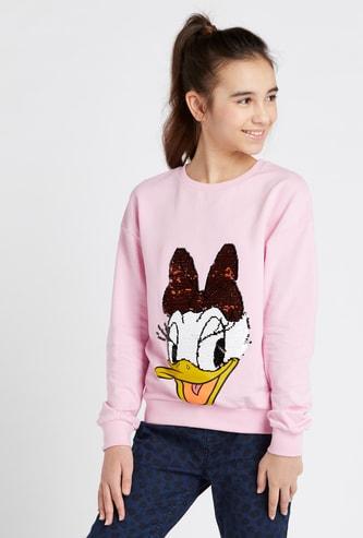 Daisy Duck Sequin Embellished Round Neck Sweatshirt
