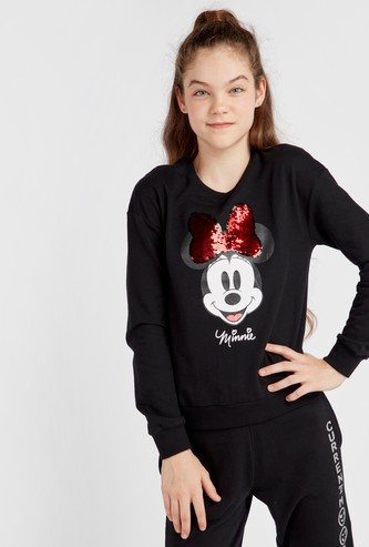 Minnie Mouse Sequin Detail Sweatshirt with Long Sleeves