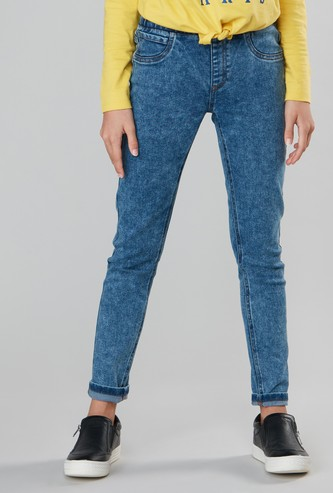 Jeggings with Elasticised Waistband and Pocket Detail
