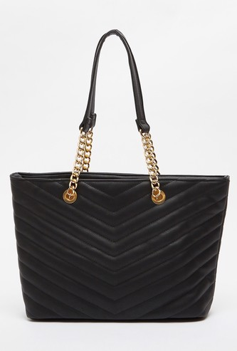 Textured Handbag with Twin Handles and Magnetic Snap Closure