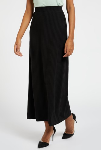 Textured A-line Maxi Ribbed Skirt