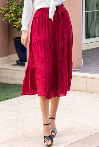 Textured Maxi Tiered Skirt with Tie Ups