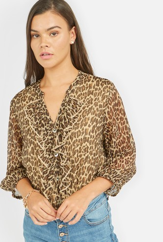 Animal Print Ruffled Top with V-neck and Long Sleeves
