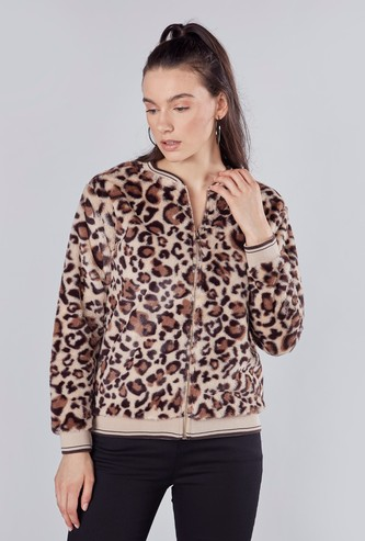 Animal Printed Bomber Jacket with Long Sleeves
