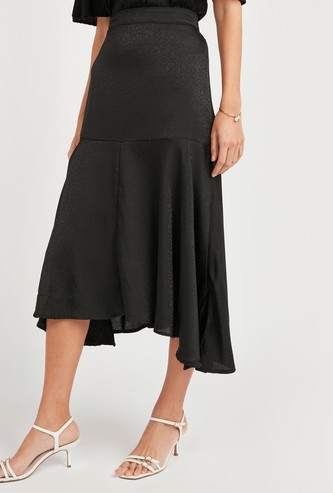 Solid Midi Skirt with Elasticised Waistband and Asymmetric Hem