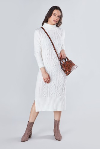 Textured Sweater Dress with Turtle Neck and Long Sleeves