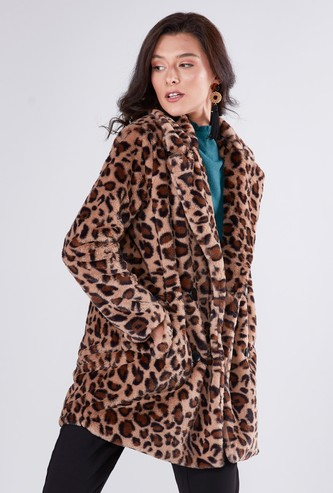 Animal Printed Coat with Long Sleeves and Button Closure