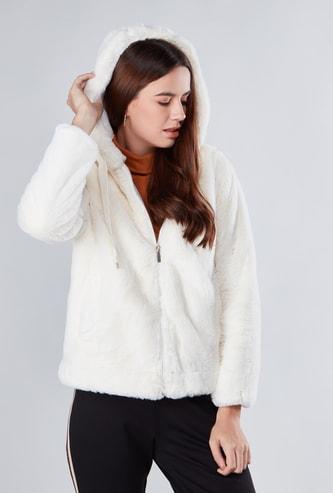 Textured Jacket with Hood and Kangaroo Pockets