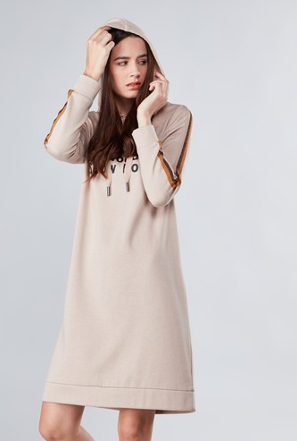 Printed Dress with Hood and Long Sleeves