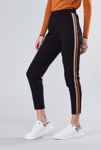 Full Length Mid-Rise Treggings with Side Tape Detail