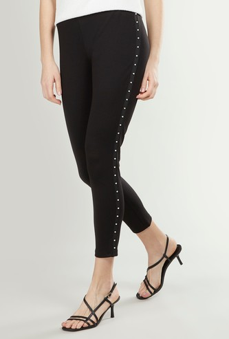 Plain Mid-Rise Treggings with Pearl Trim Tape Detail