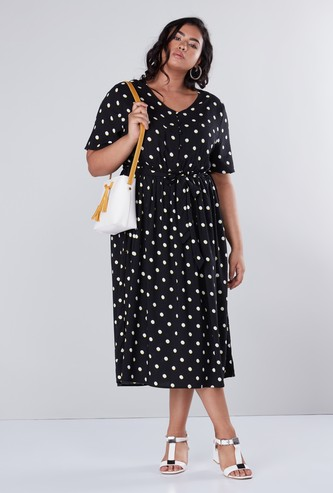 Polka Dots Printed Midi Dress with Short Sleeves and Tie Ups