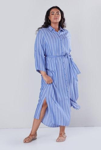 فستان قميص طويل مقلم بحزام رباط