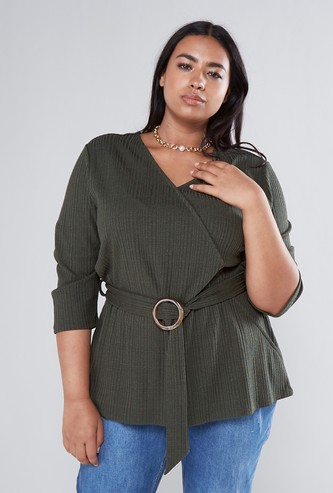 Textured V-neck Top with Hoop Buckle Styling and 3/4 Sleeves