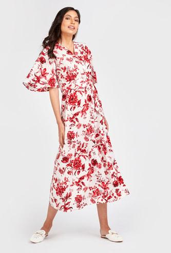 فستان إيه لاين طويل بطبعات أزهار وأكمام واسعة