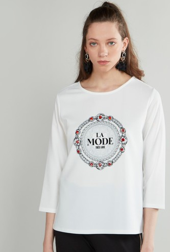 Embellished Detail T-shirt with Round Neck and 3/4 Sleeves