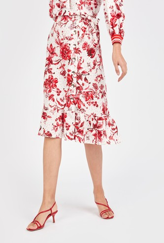 Floral Print Midi Skirt with Tie Ups and Asymmetric Hem