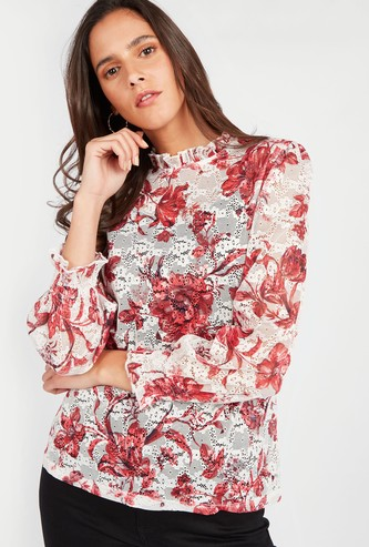 Floral Print Lace Top with Pie Crust Collar and Flute Sleeves