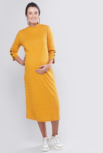 Maternity Plain Midi A-line Dress with High Neck and 3/4 Sleeves