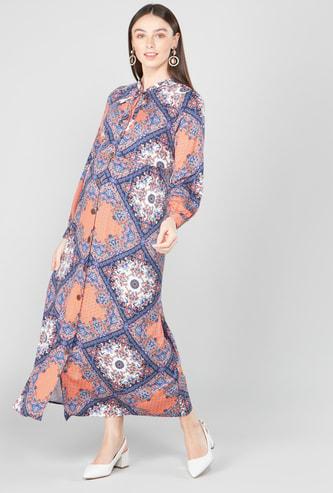 فستان طويل إيه لاين بأكمام طويلة وطبعات وربطة عنق