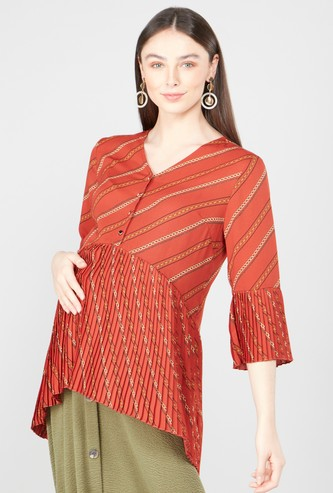 Printed Maternity Top with V-neck and Flounce Sleeves