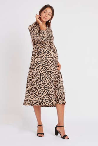 Printed Maternity Midi A-line Dress with Long Sleeves