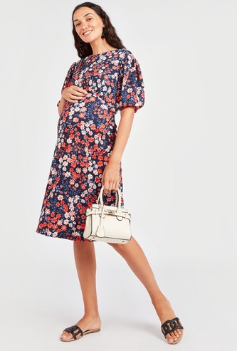 Maternity Floral Print Midi A-line Dress with Short Sleeves