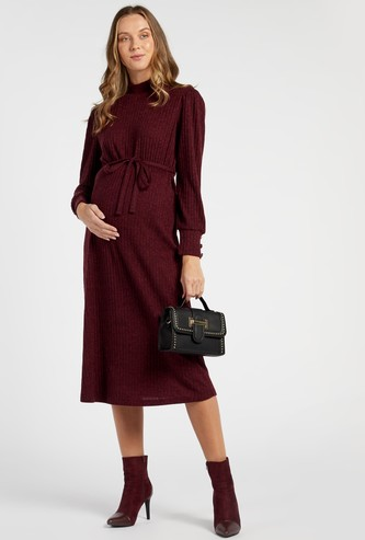 Ribbed Midi A-line Maternity Dress with Tie-Up Belt