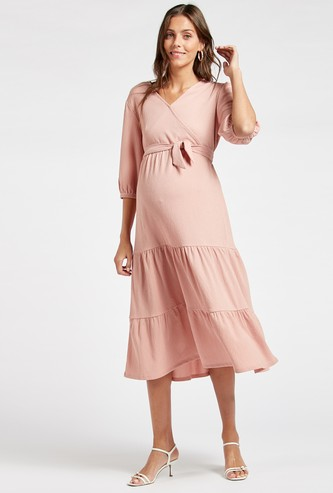 Solid Midi Tiered Maternity Wrap Dress with 3/4 Sleeves and Tie-Ups