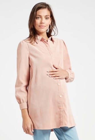 Corduroy Maternity Shirt with Spread Collar and Long Sleeves