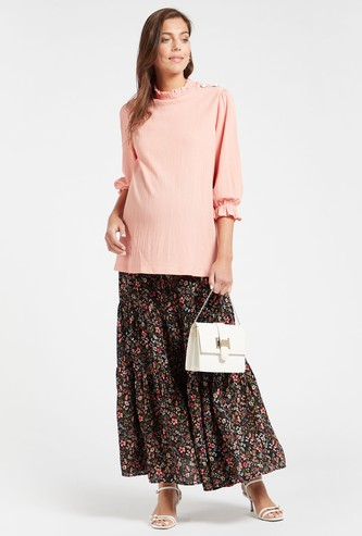 Floral Print Tiered Maternity Skirt