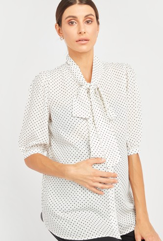 Polka Dot Print Maternity Top with Necktie and 3/4 Sleeves