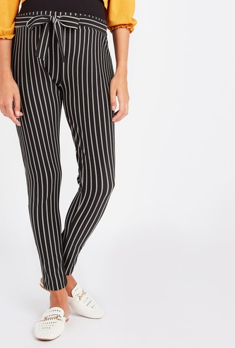 Striped Mid-Rise Culottes with Tie Ups