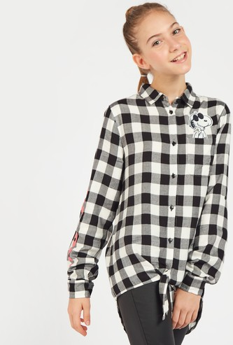 Snoopy Checked Collared Shirt with Long Sleeves and Front Knot Styling