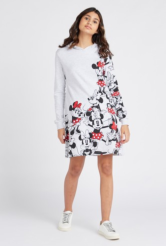 Minnie Mouse Print Mini Dress with Long Sleeves and Hood