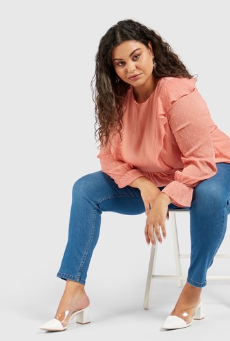 Full Length Solid High-Rise Jeggings with Elasticised Waistband