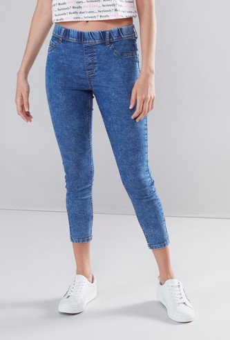 Solid Jeggings with Shorter Inseam and Belt Loops
