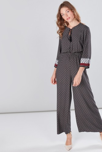 Printed Jumpsuit with Flared Sleeves and Tie Ups