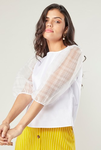 Plain Top with Round Neck and Chequered 3/4 Sleeves