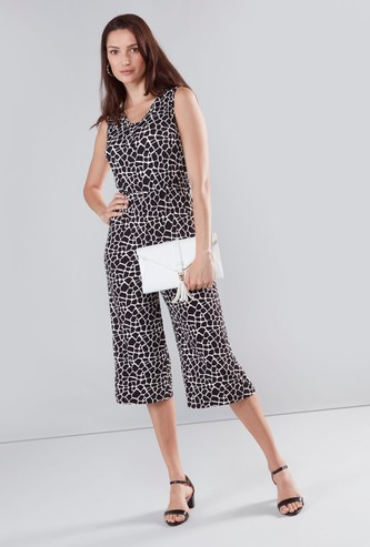 Printed Sleeveless Jumpsuit with V-neck