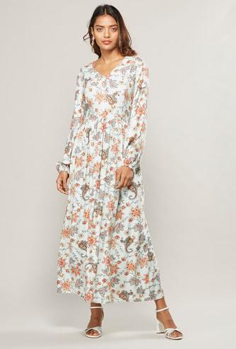 فستان طويل إيه لاين بياقة V وأكمام بيشوب مع طبعات