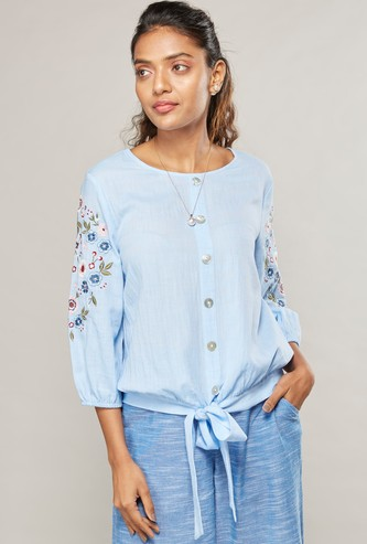 Embroidered Top with Round Neck and Tie Ups
