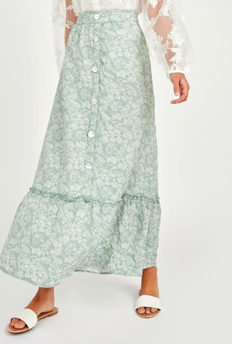 All Over Print A-line Maxi Skirt