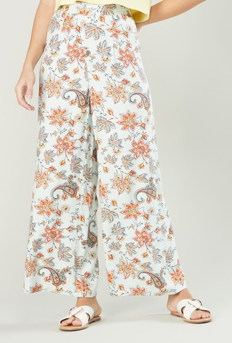Paisley Printed Palazzo Pants with Elasticised Waistband