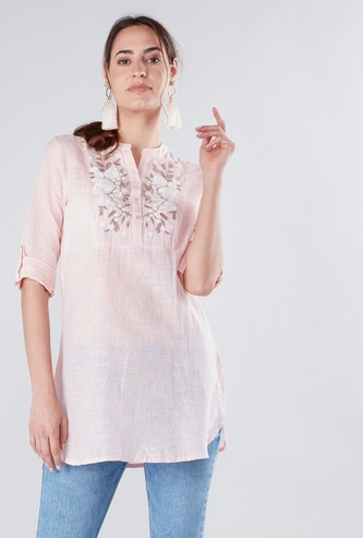 Embroidered Mandarin Collar Tunic with Roll-Tab Sleeves